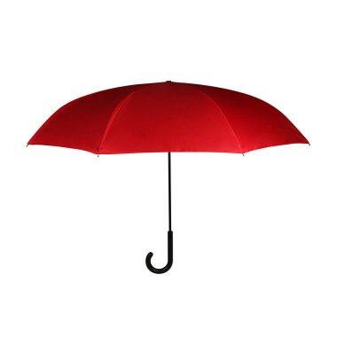 Lush Lava Red Opened J-Hook Long Umbrella Isolated on White Background. Design Template for Mock-up, Branding, Advertise etc. Front View