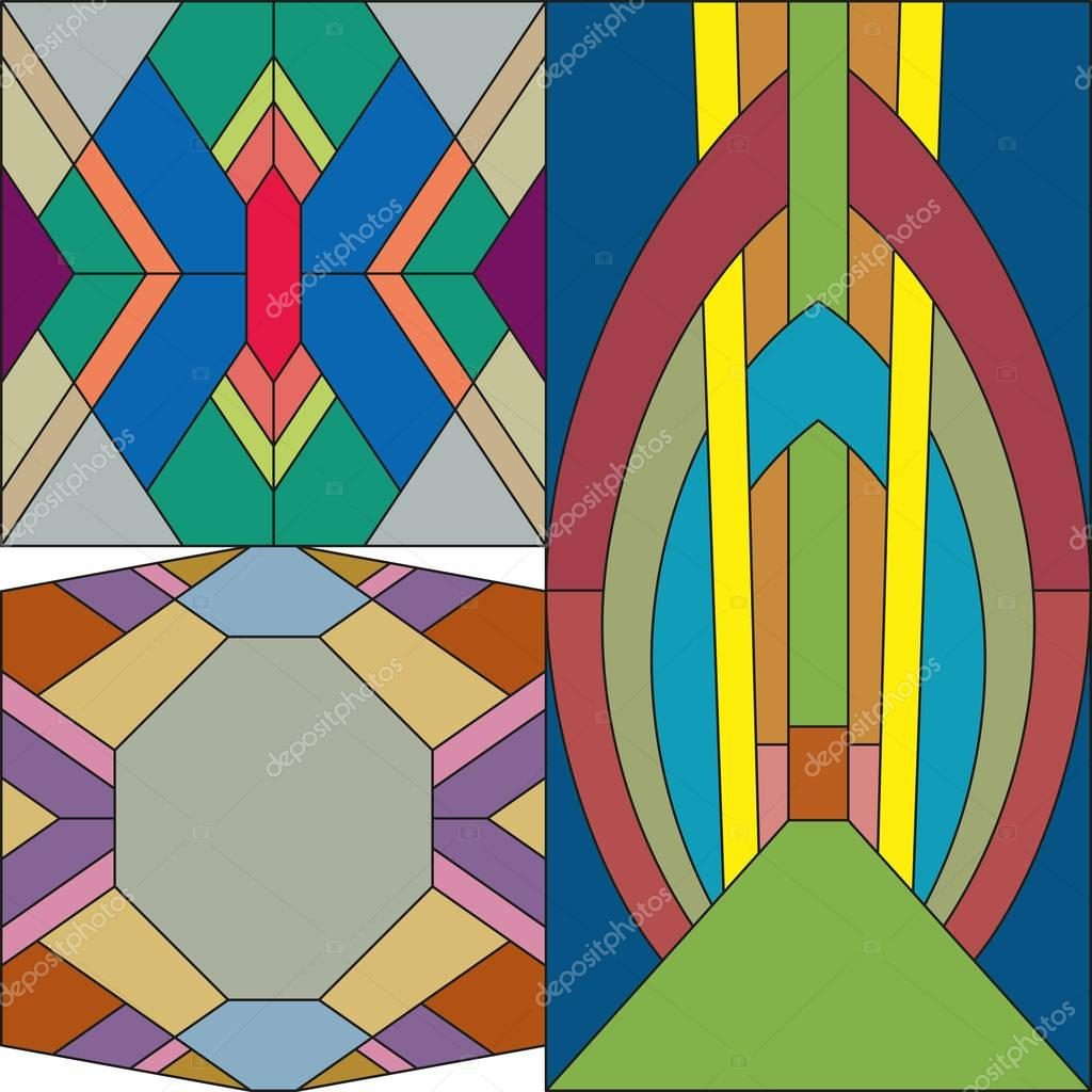 Art deco vector colored abstract geometric pattern. Art ...