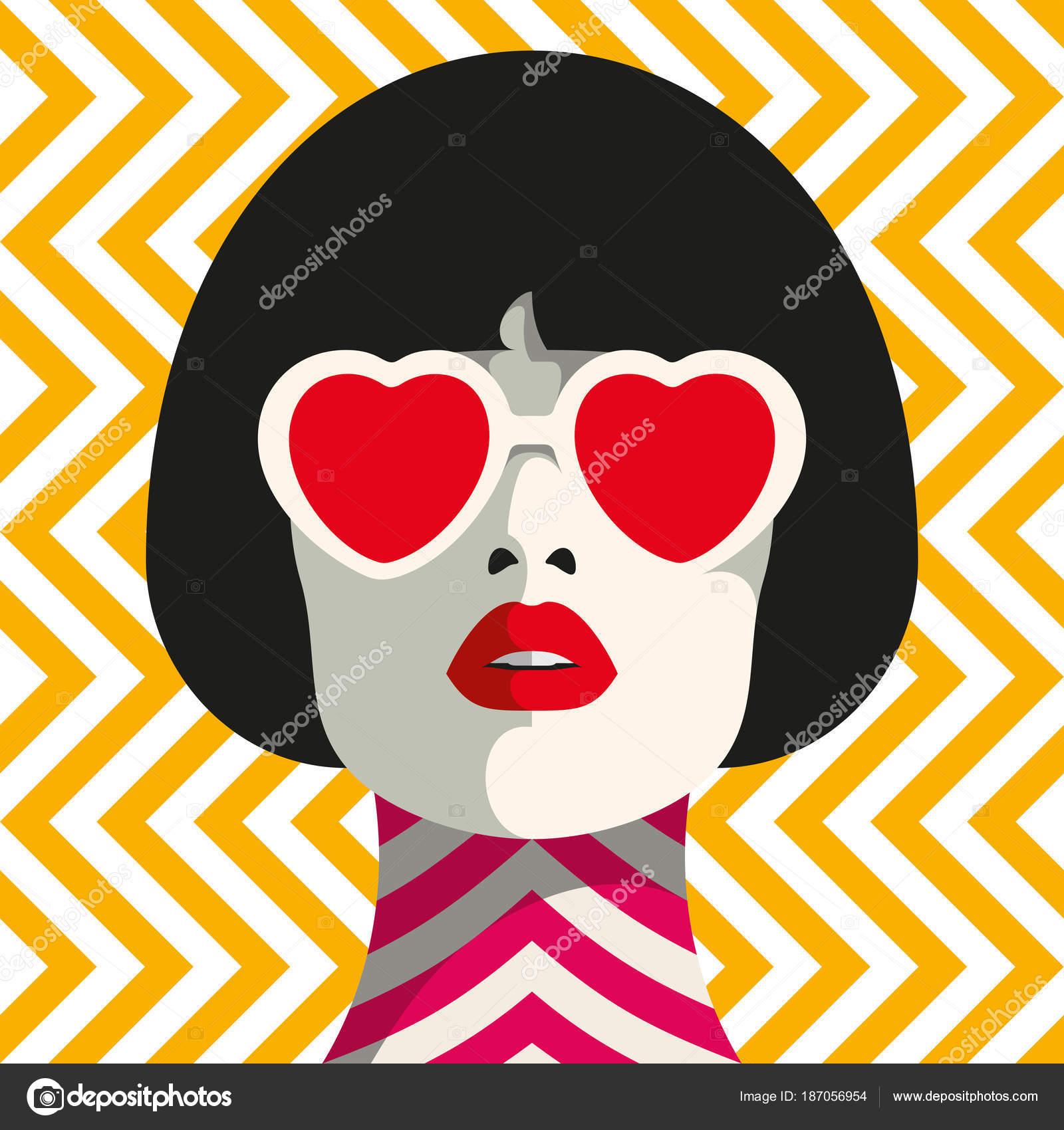 Stilvolle Frau Mit Herz Brille Und Bob Frisur Nahtlose Geometrische