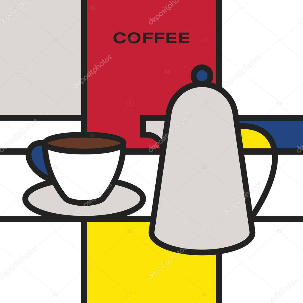 Coffee Cup With Saucer And Coffee Pot Modern Style Art With Rectangular Colour Blocks Piet Mondrian Style Pattern Premium Vector In Adobe Illustrator Ai Ai Format Encapsulated Postscript Eps Eps Format