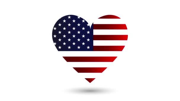 Beating szív usa zászló belül animáció alfa csatorna
