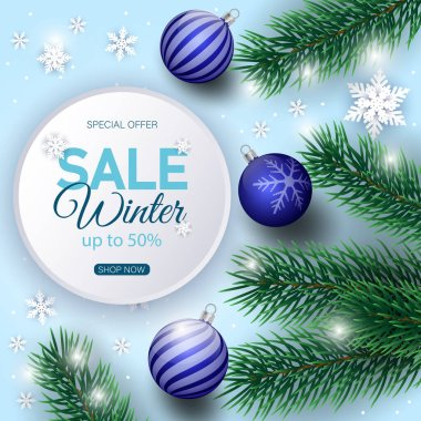 Winter sale banner decorated with Christmas tree branches and snow