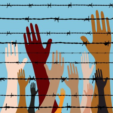 hand behind barbed wire seamless vector