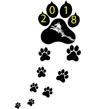 Pet symbol footprints of dog. Puppy animal of Chinese New Year of the Dog. Vector illustration