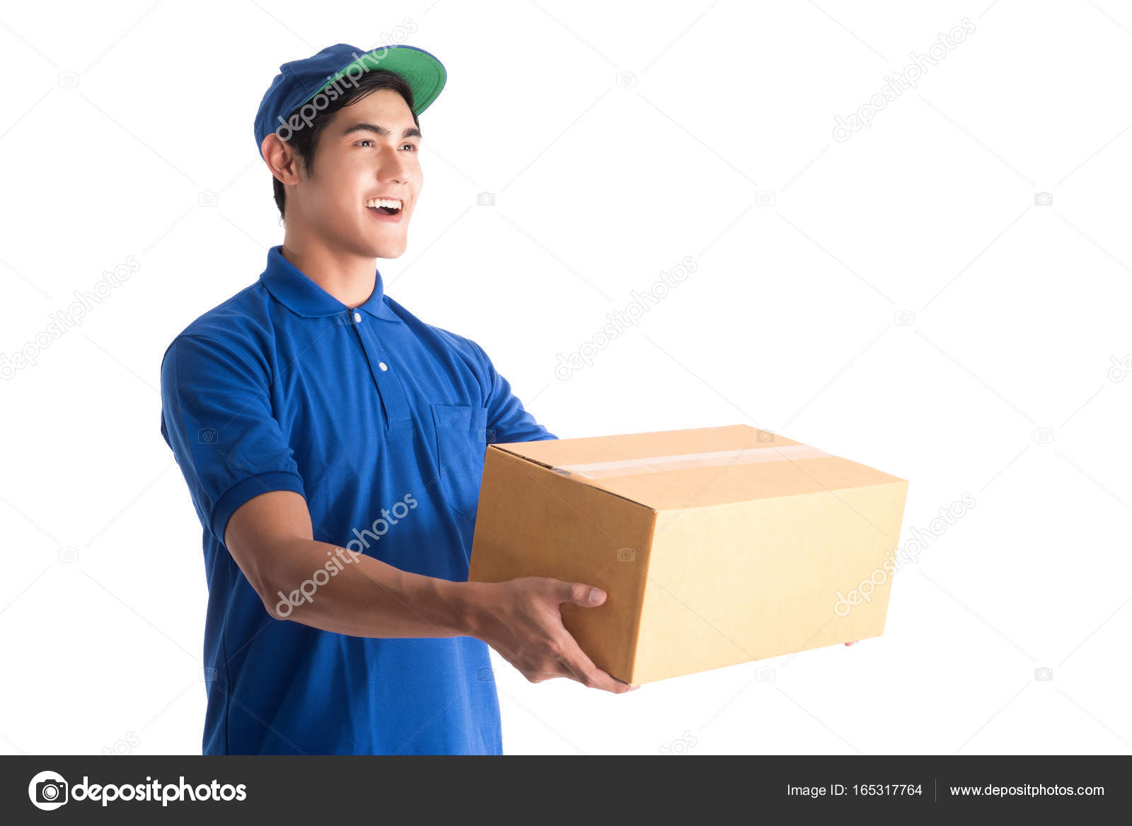 cheerful delivery man happy young courier holding a cardboard box