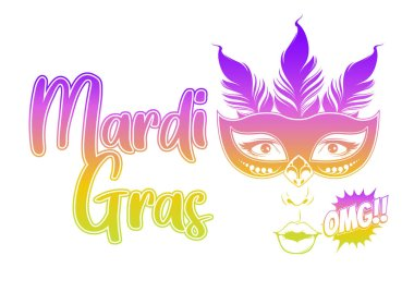 Mardi Gras, Carnival Party with Feather Mask,  gretting card banner, poster, template, Flyer & brochure On white background, vector illustration.