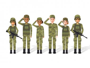 Military people, man an woman soldiers