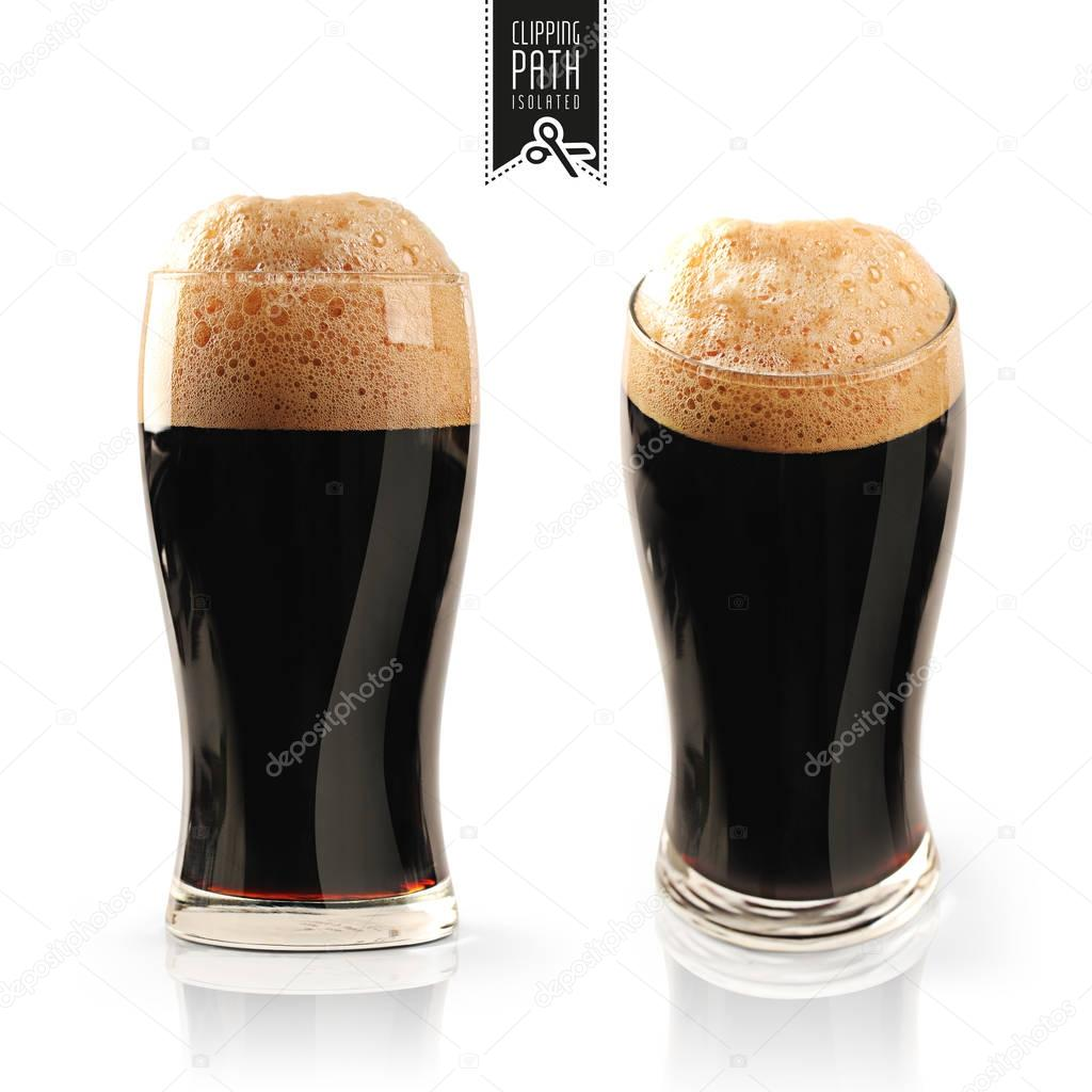 Dark beer set with clipping path