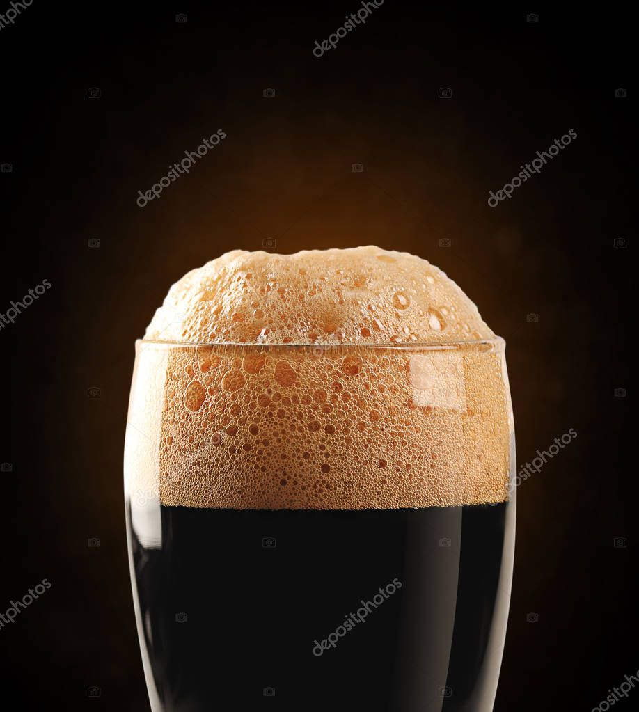 Dark beer with clipping path
