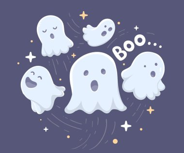 Vector halloween illustration of many white flying ghosts with e