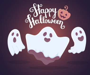 Vector halloween illustration of white flying three ghosts with