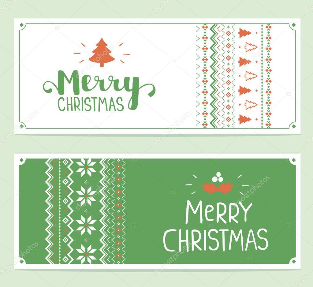 2 つの手書きのテキストの様式化されたクリスマス イラストをベクトルし