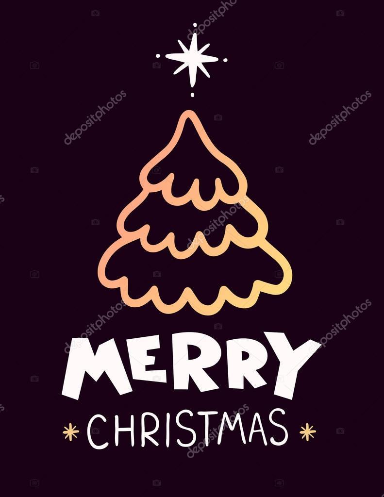 Ilustracion De Vector De Arbol De Abeto De Navidad De Color Dorado