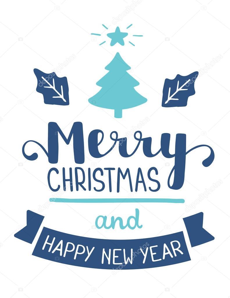 Ilustración de vector de color verde Navidad abeto árbol y azul l ...