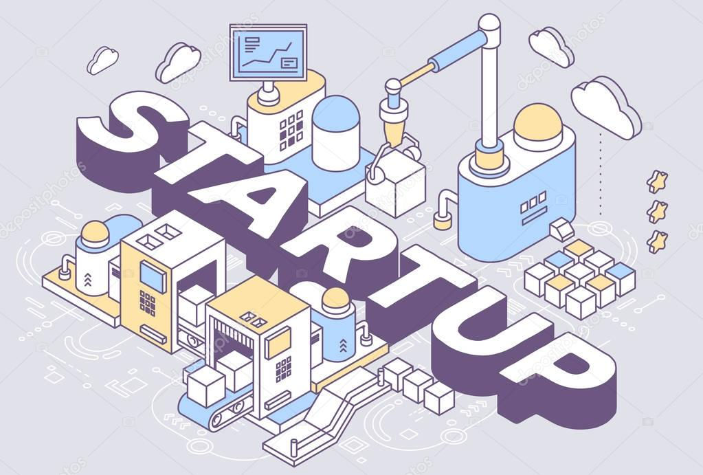 Vector illustration of word startup and three dimensional mechan