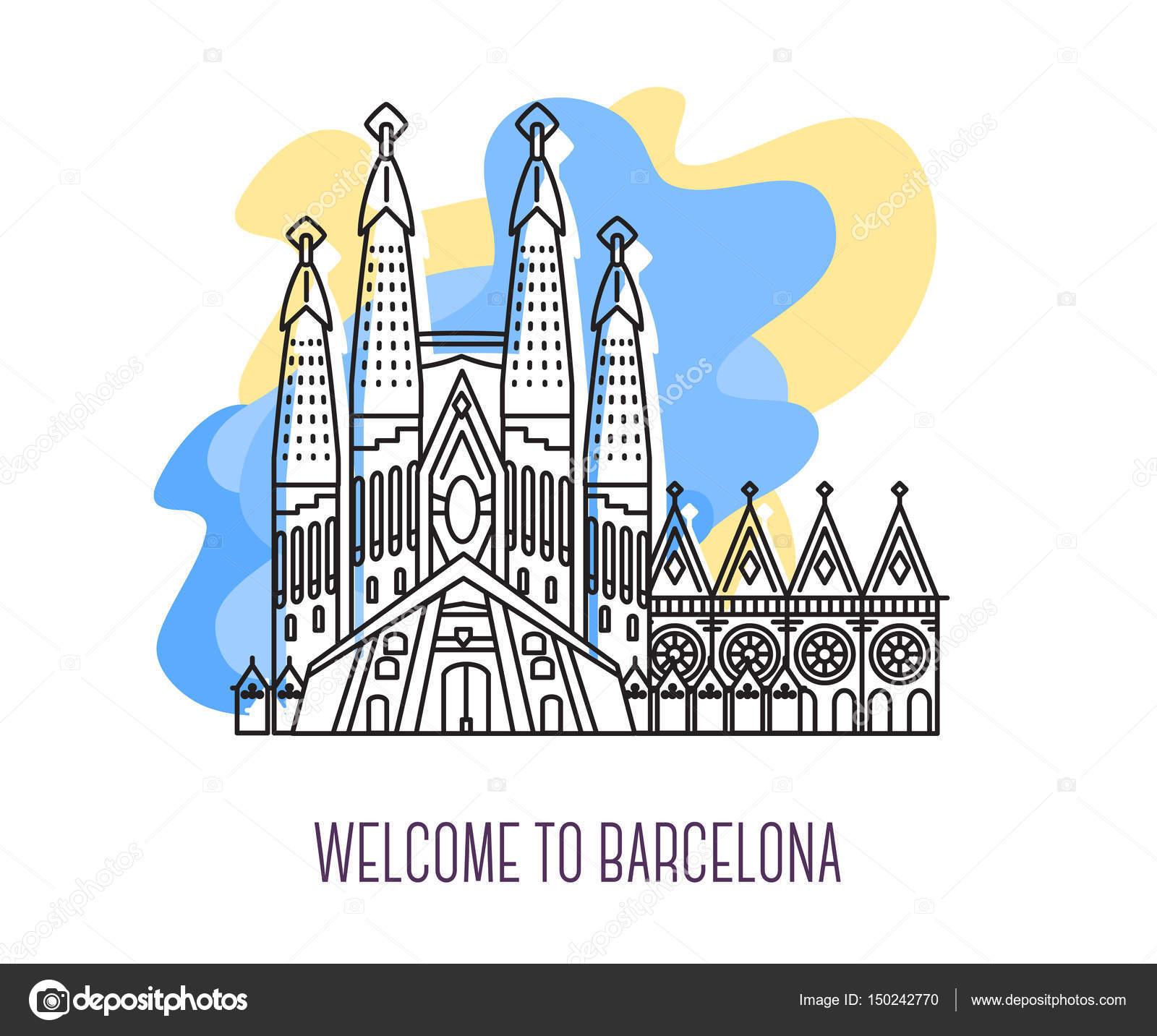 サグラダ ファミリアのベクター イラストですバルセロナのランド