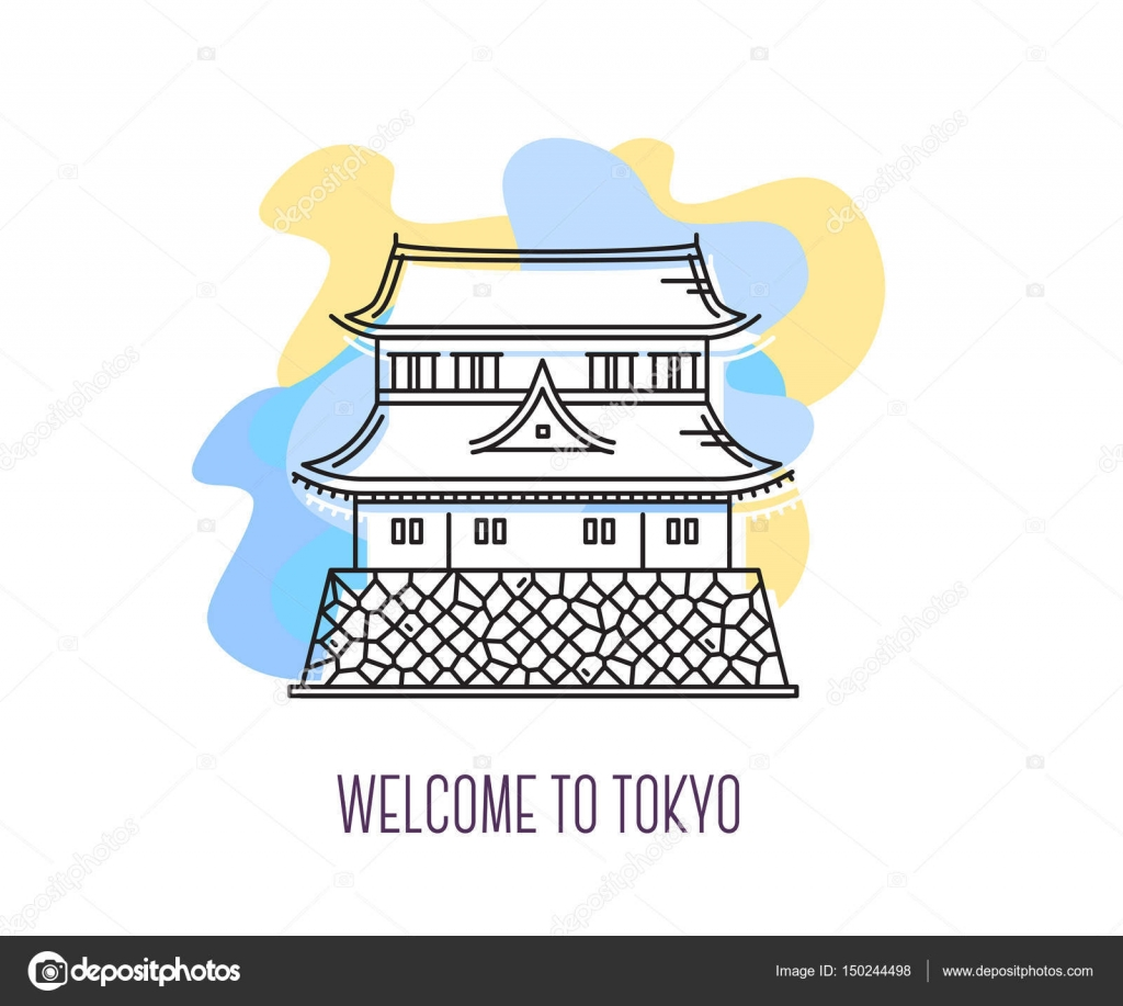 Vector illustration of imperial palace tokyo landmark symbol o vector illustration of imperial palace tokyo landmark symbol o stock vector buycottarizona