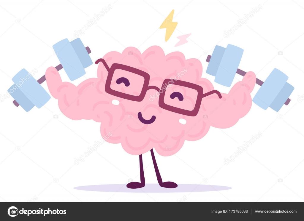 ピンク色のベクトル イラスト笑顔簡単メガネと脳 ストックベクター