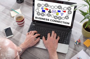 Business connection concept on a laptop screen