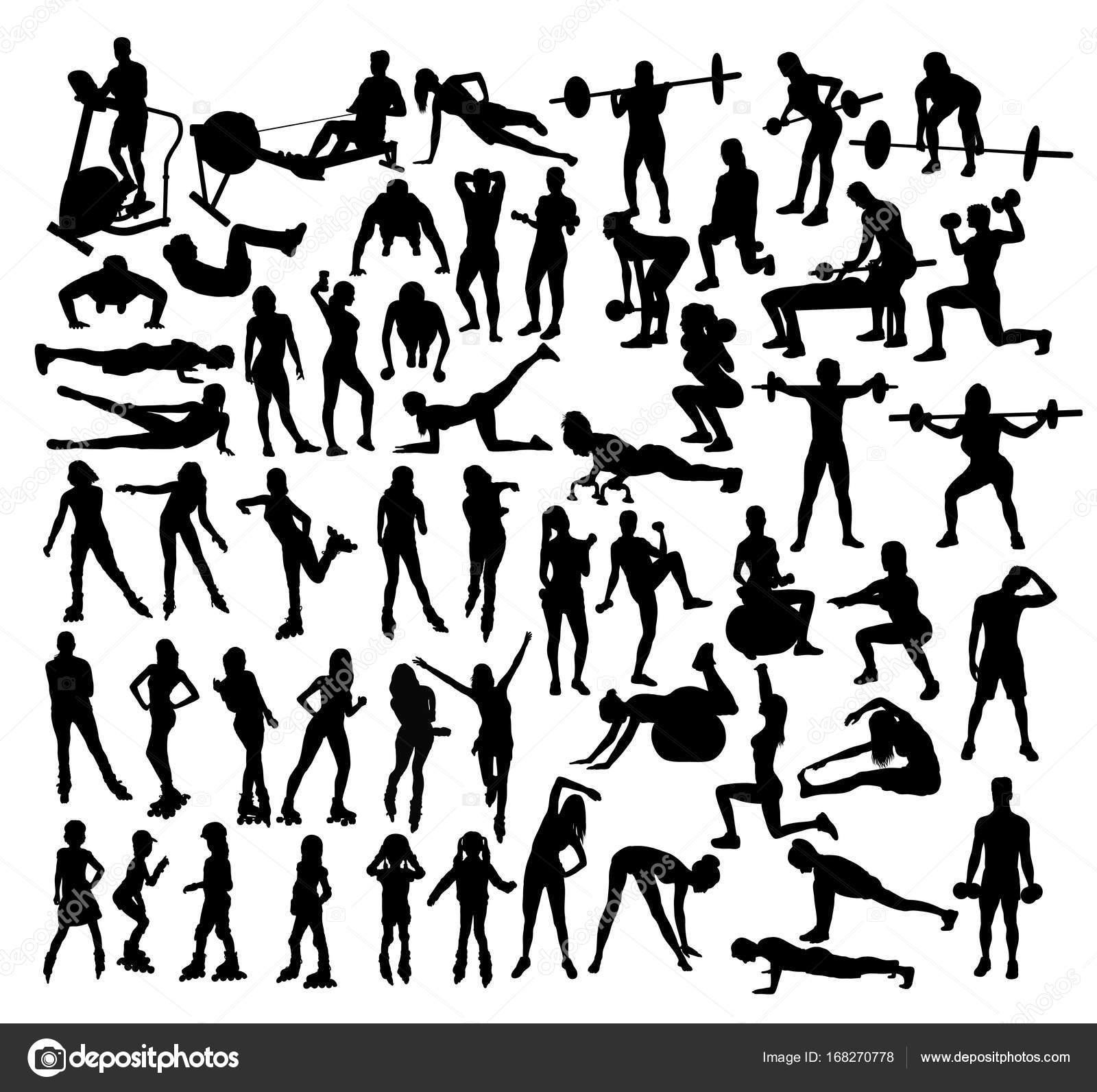 Pattini Rotelle Sagome Palestra Fitness Arte Disegno Vettoriale