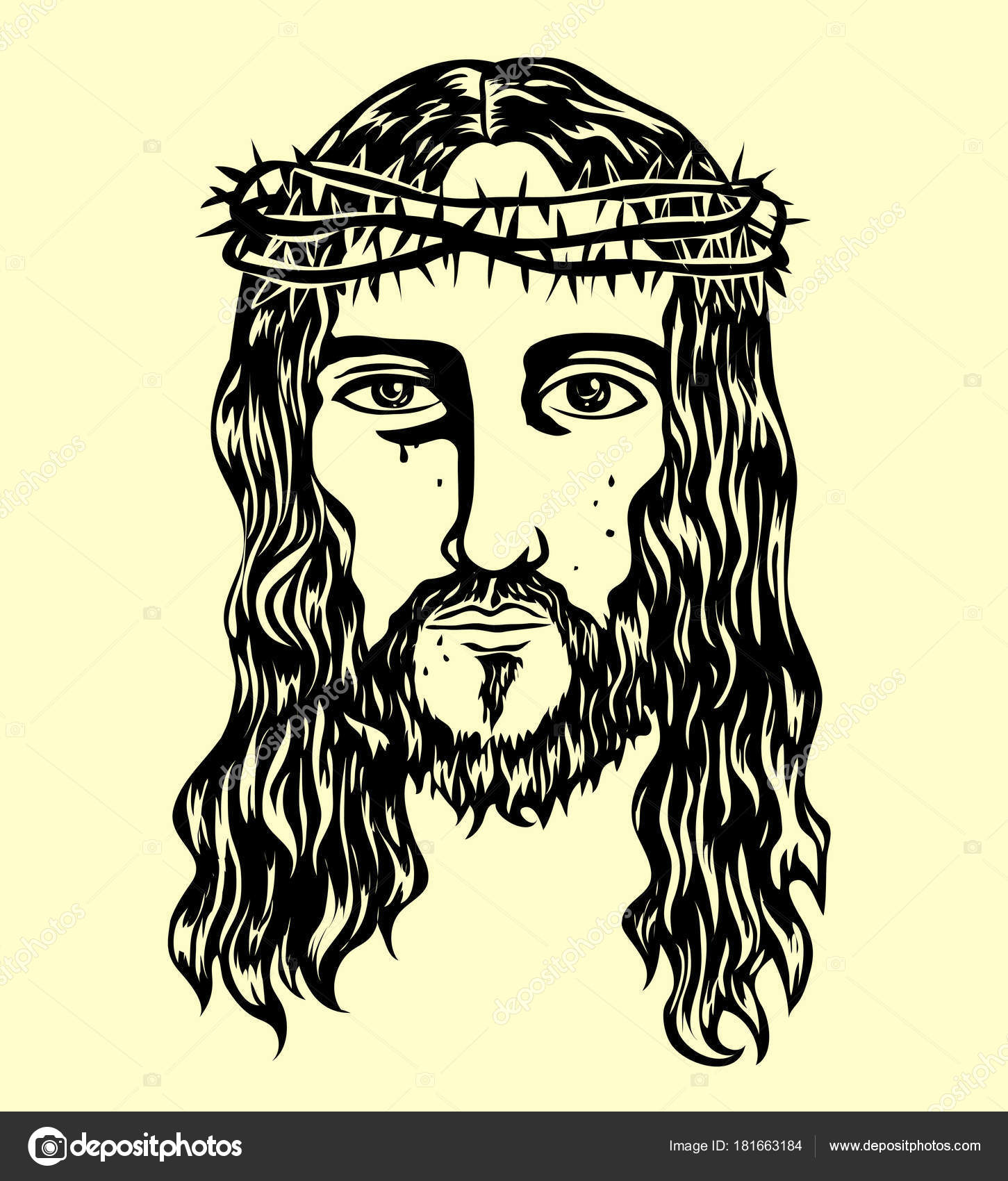 Jesus Christ Face Drawing Jesus Christ Face Art Vector Sketch