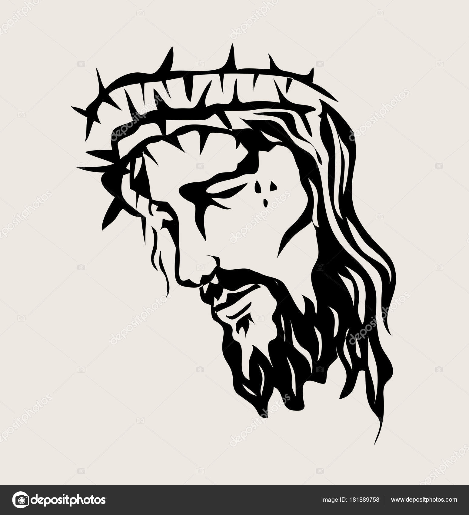 Jesus Christ Face Art Vector Sketch Drawing Design Stock Vector