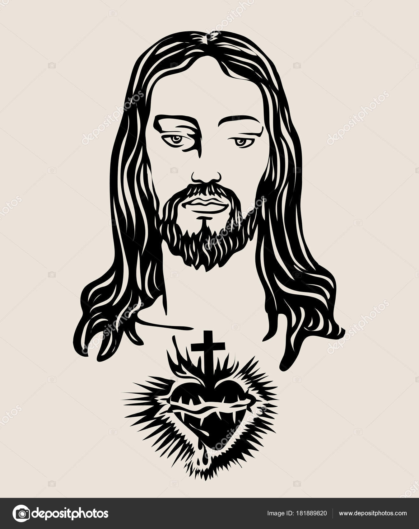 Drawings Sacred Heart Of Jesus Drawing Face Jesus Sacred