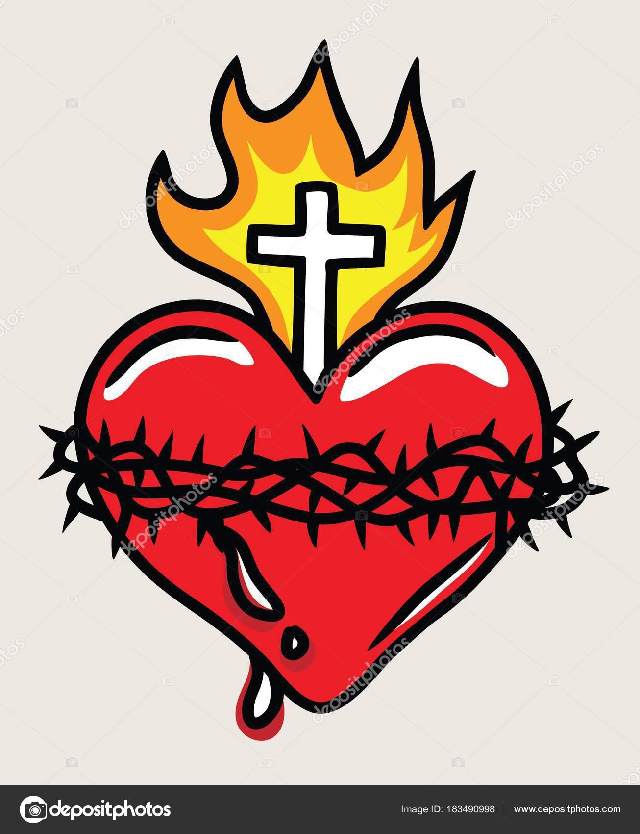 Dibujos Animados Del Sagrado Corazon De Jesus Llustración Sagrado