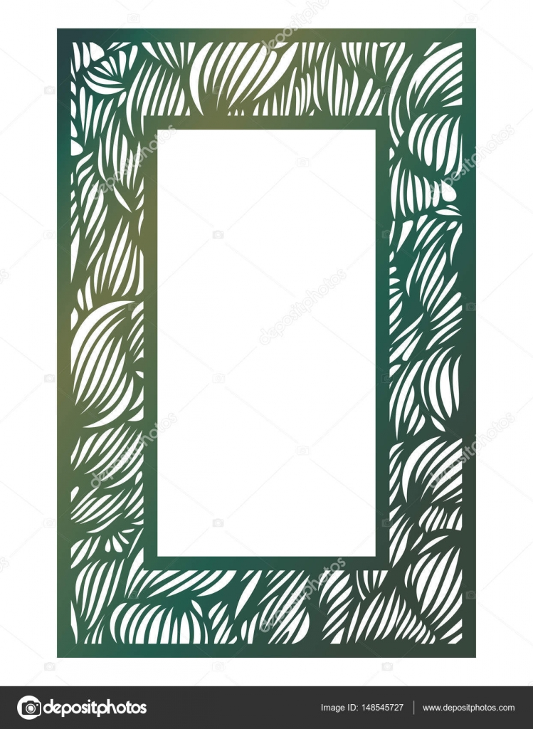 Vector Stencil lacy frame with carved openwork wave pattern. Tem ...
