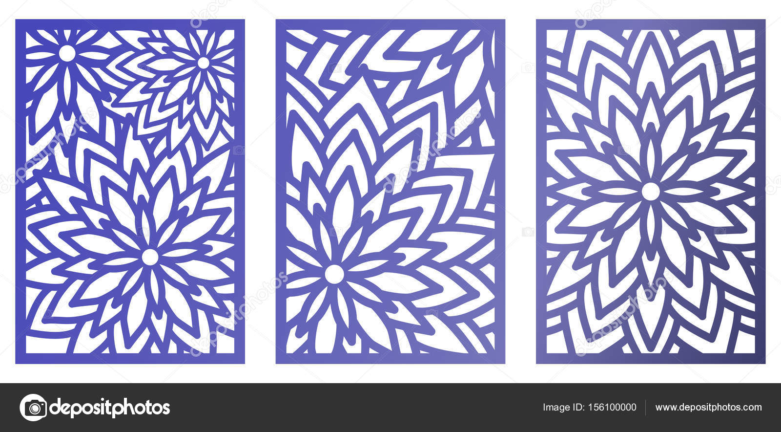 Set of Vector Laser cut panels with flowers. Abstract Pattern te ...