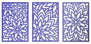 Set of Vector Laser cut panels with flowers. Abstract Pattern te