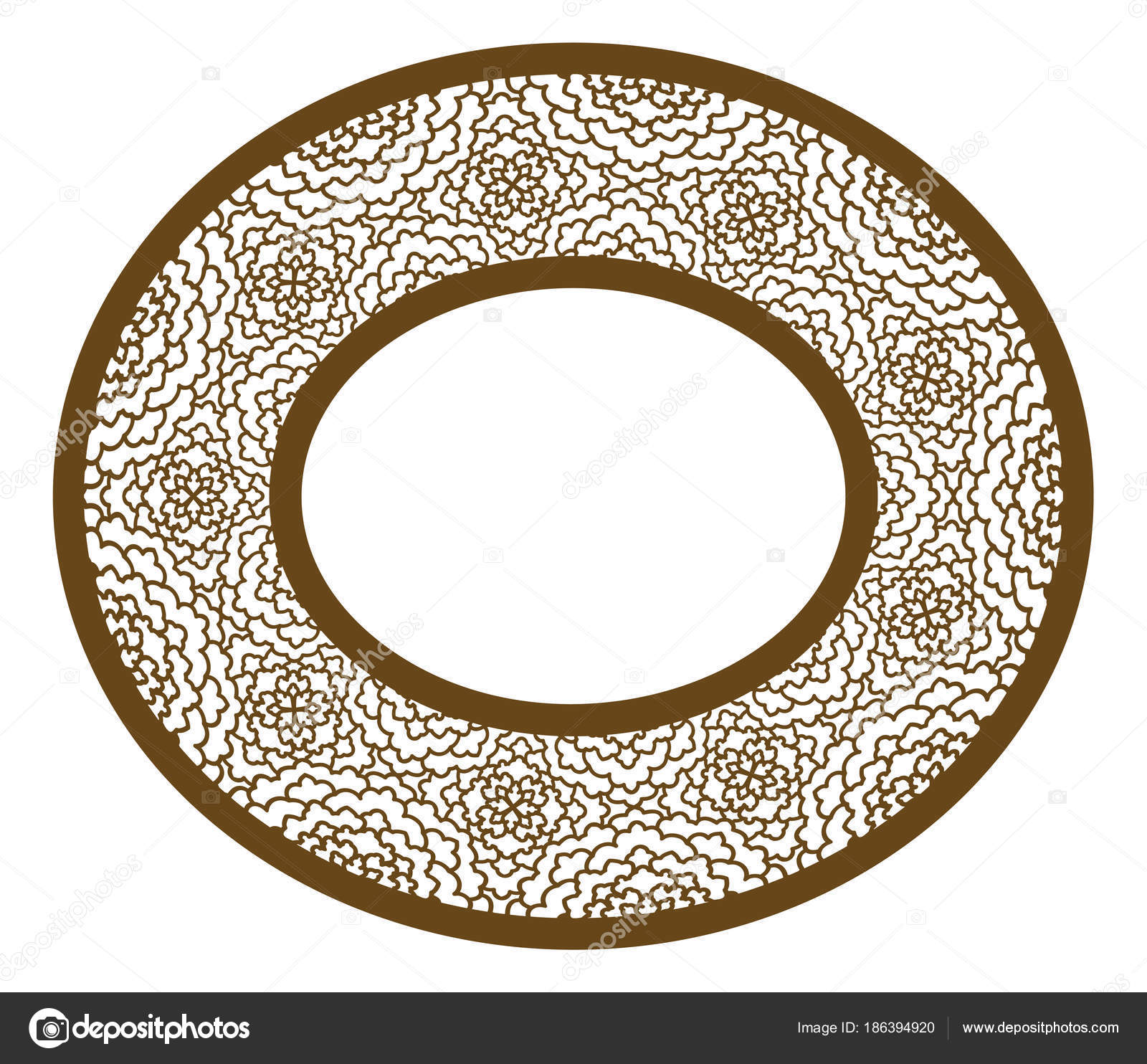 Vector Stencil lacy oval frame with carved openwork pattern. Tem ...