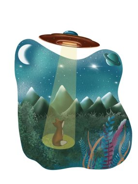 UFO and fox in the snowy mountain. Illustration