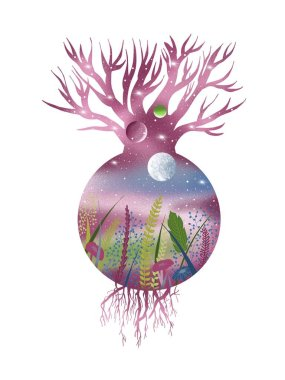 Tree of life and dreams. Illustration