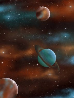 Outer space. Nebula. Illustration. Planets