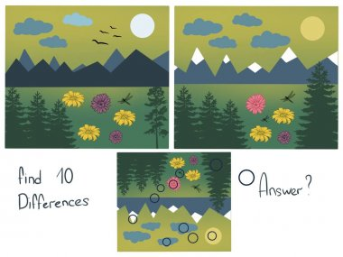 Find 10 differences. Logical childrens game