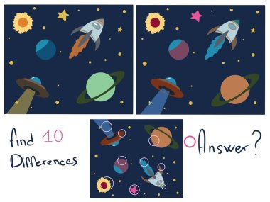Find 10 differences. Logical childrens game. Space
