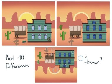 Find 10 differences. Find the differences. Logical childrens game. Wild West