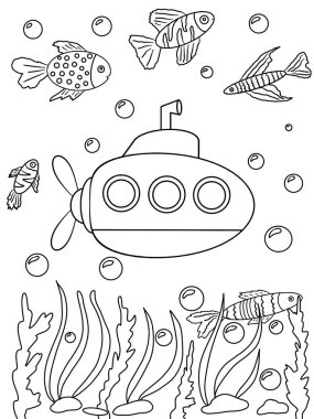 Underwater world and submarine. Coloring book