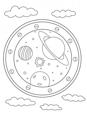Coloring book. Coloring page. Porthole with space and planets