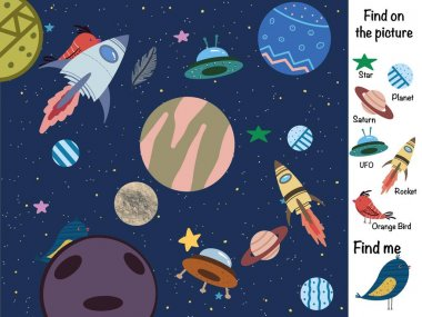 Find the differences. Find on the picture. Find and show. Find objects. Logical game. Space