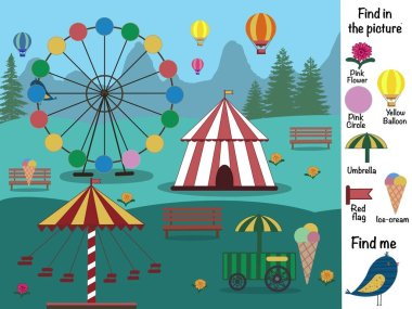 Find objects in the picture. Find and show. Find the differences. Logical. Circus