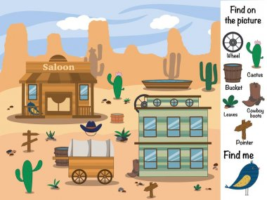 Find objects in the picture. Find the differences. Find and show. Logical game. Wild West
