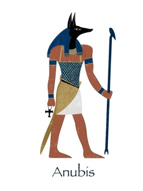 Ancient Egypt. Egyptian god Anubis. Card.