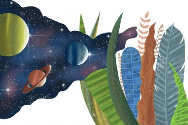Space and nature. Planets with stars. Starry sky