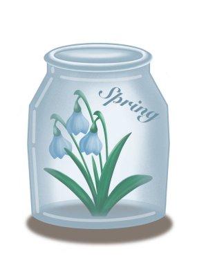 Snowdrops in the jar. Spring. Springtime