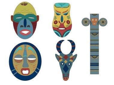 Set of masks. Masks of different tribes