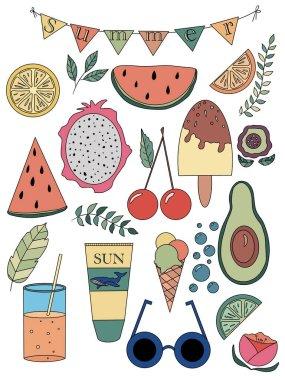 Set of summer. Orange, lime, lemon, watermelon, avocado, ice cream, cocktail, cherry