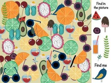 Find in the picture. Logical game. Fruit