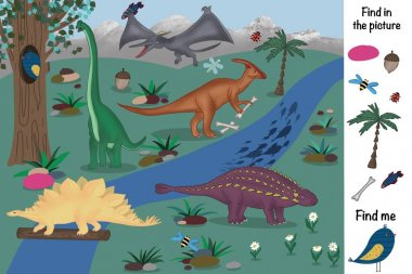 Find in the picture. Find and show. Dinosaurs